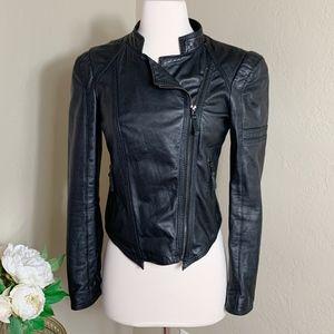 Zara Basic Black Lambskin Leather Jacket